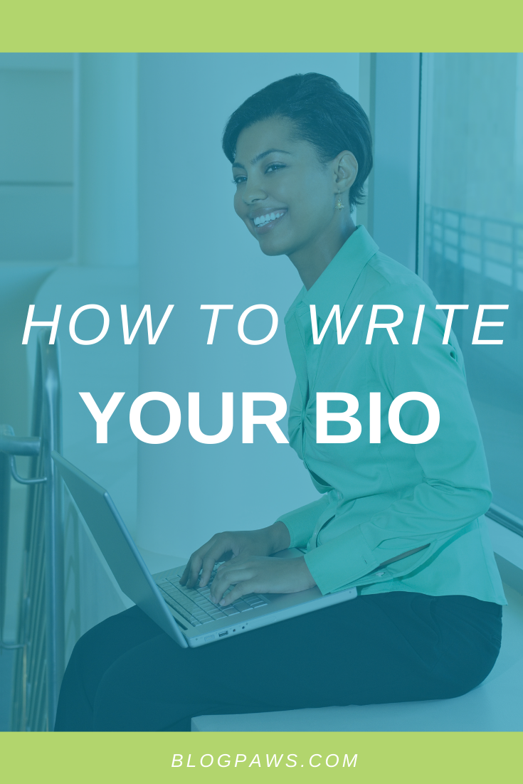 Woman at computer: How to write your bio