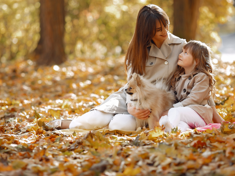 family with dog outside in autumn