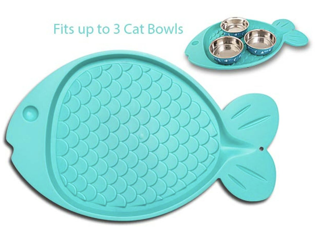 Turquoise Cat Mat shaped as fish