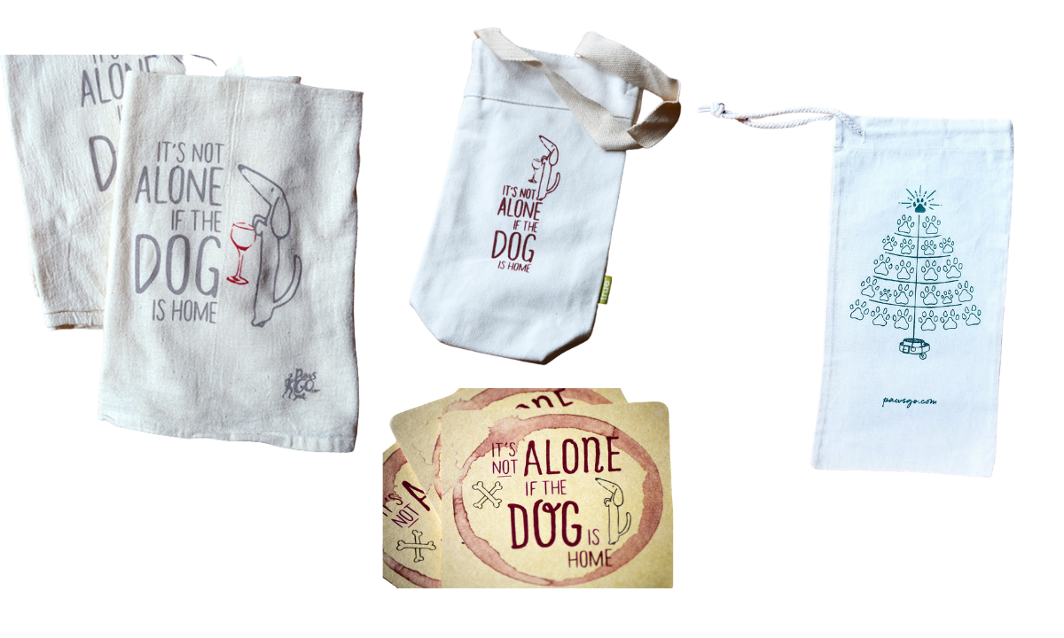 PawsGo Collection: It's Not Alone if the dog is home towels, coasters, wine bag