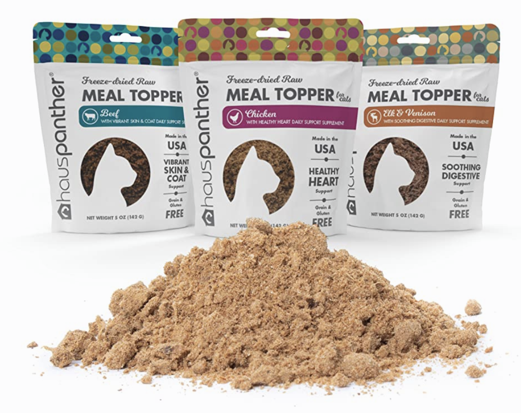 Three flavors of Meal Toppers for Cats