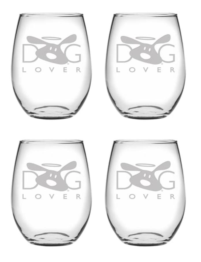 Wine Glass Set of 4: Dog Lover Stemless
