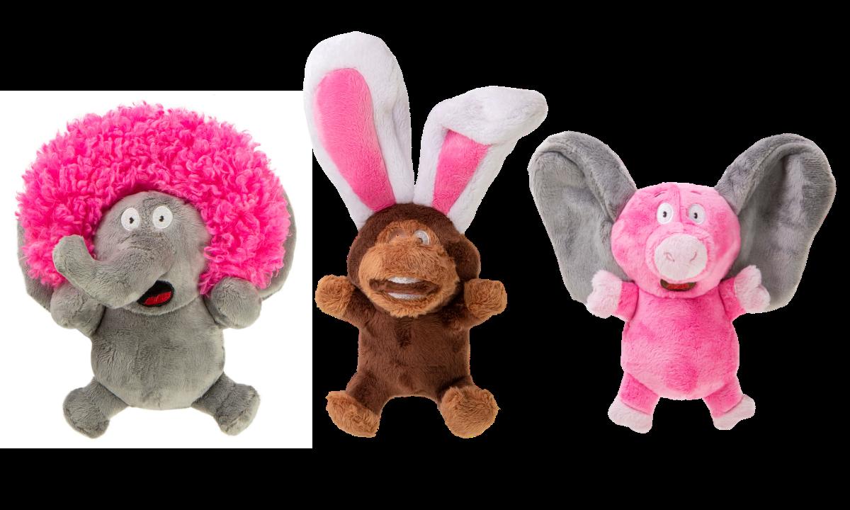 Silent squeaker plush dog toys large