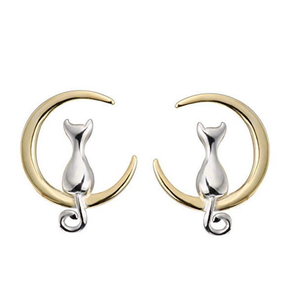 Gold crescent moon earrings with cats sitting in them