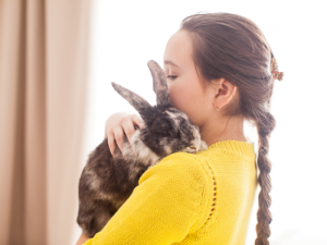 rabbit with woman