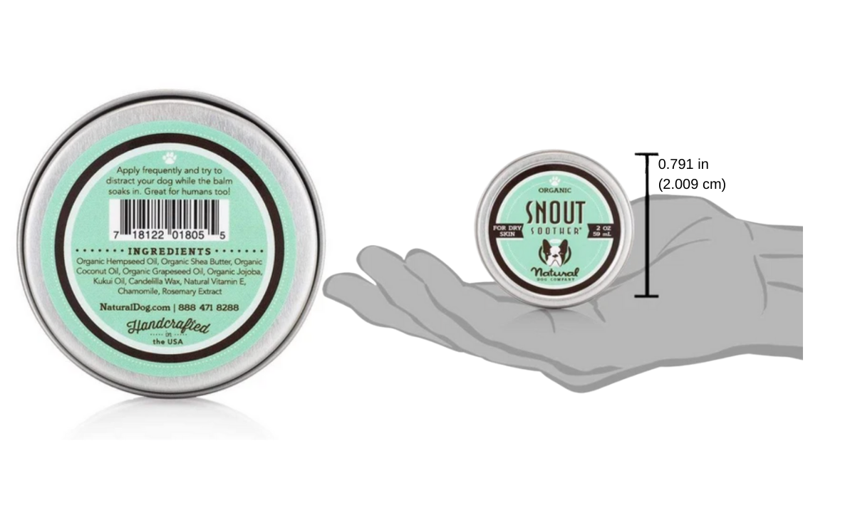 Snout Soother in tin can and size of can in palm of hand