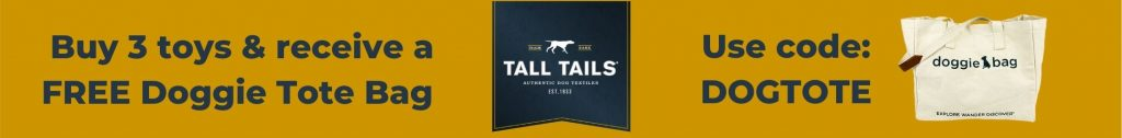Buy 3 toys get a free tote bag offer from Tall Tails with code DOGTOTE